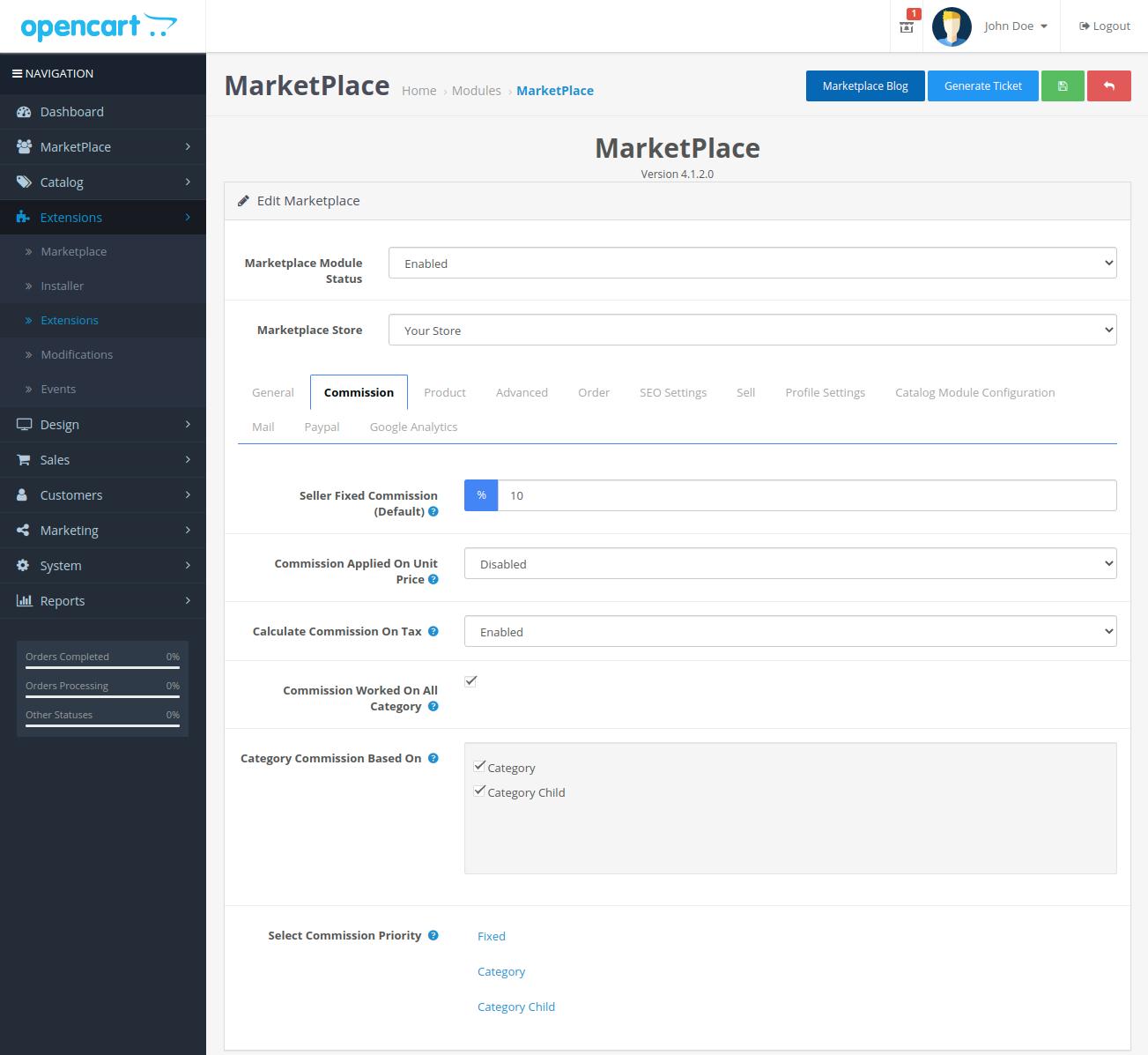 webkul-opencart-multi-vendor-marketplace-commission-tab