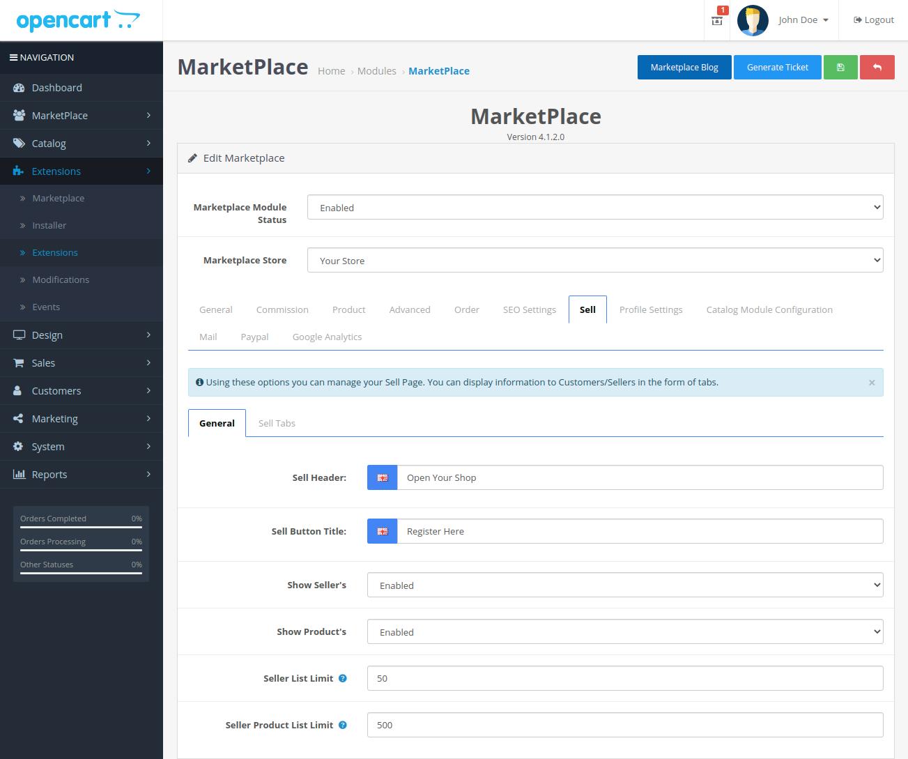 webkul-opencart-multi-vendor-marketplace-sell-tab-general