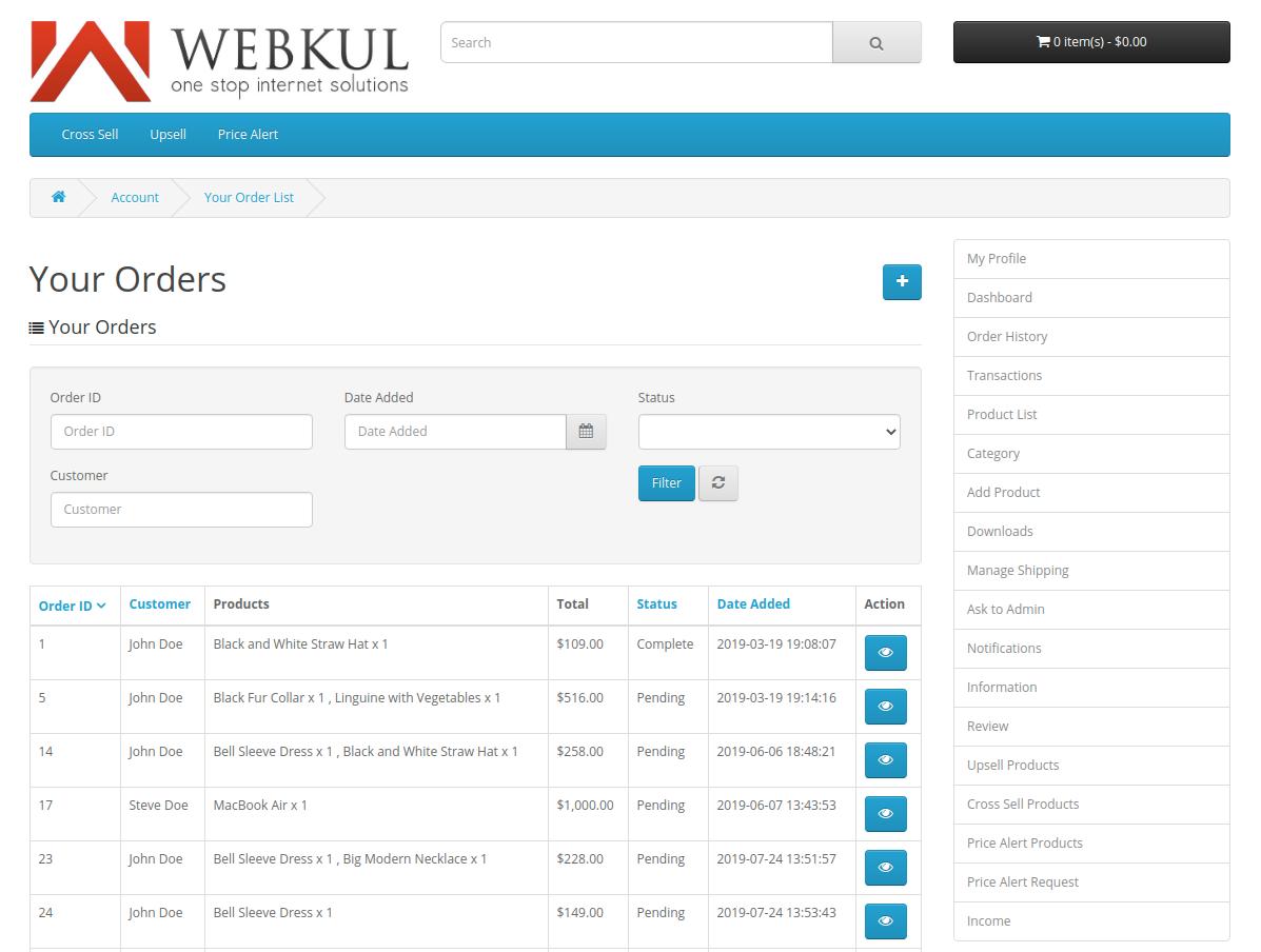 webkul-opencart-multi-vendor-marketplace-seller-end-order-history