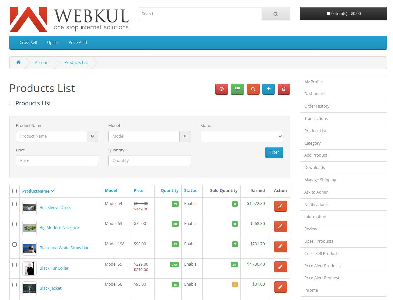 webkul-opencart-multi-vendor-marketplace-seller-end-product-list