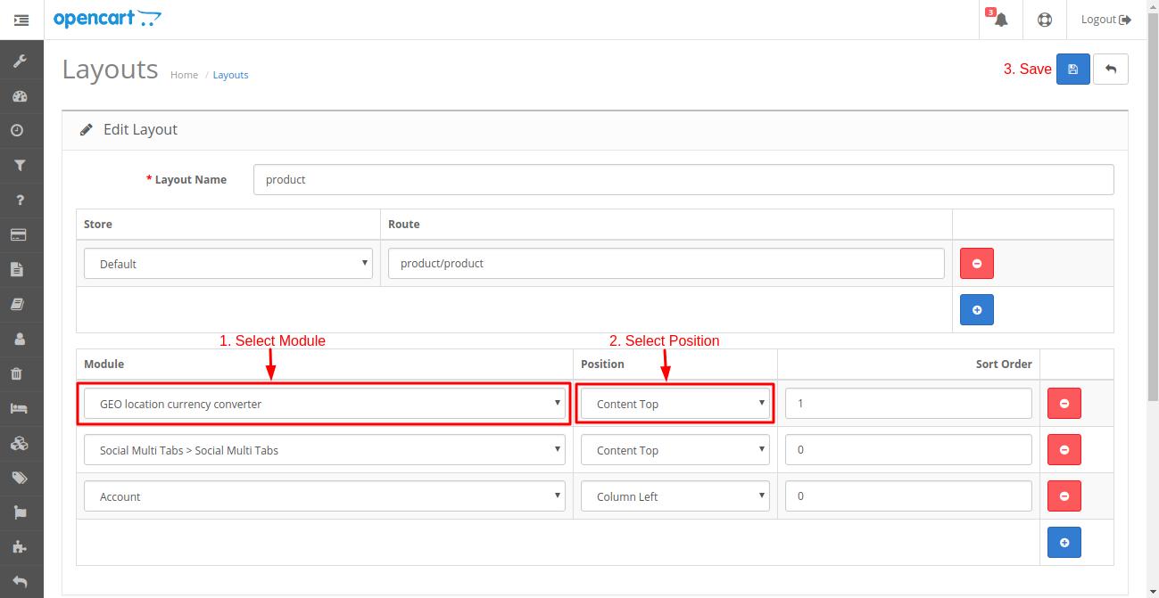 Webkul Module layout in opencart geo location currency converter module