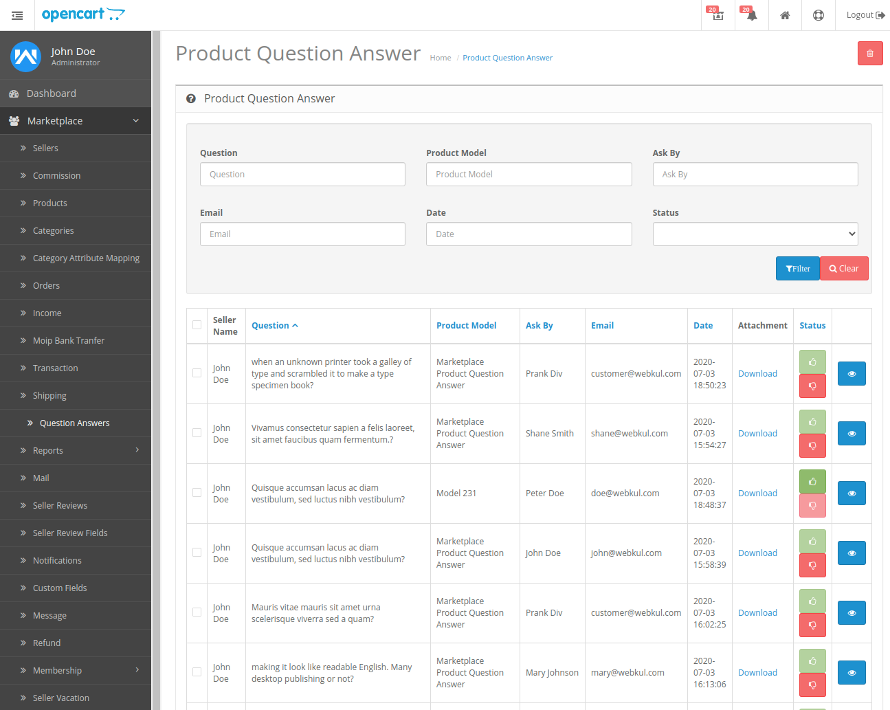 webkul-opencart-marketplace-product-question-and-answer-admin-end-question-listings