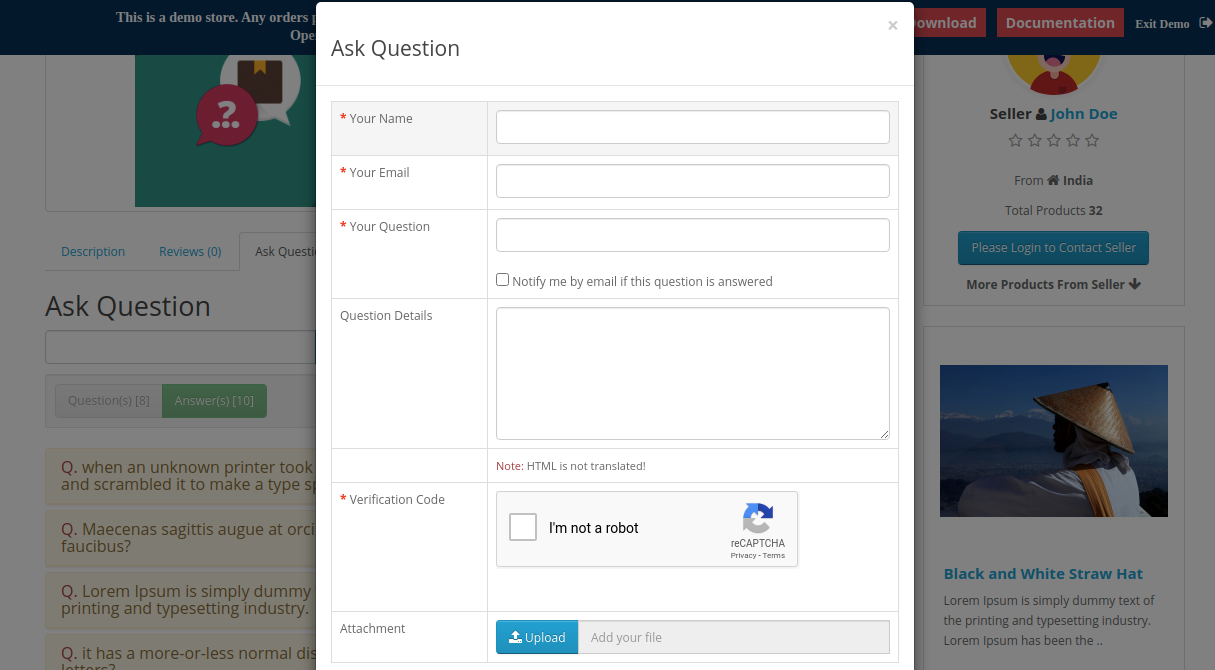 webkul-opencart-marketplace-product-question-answers-pop-up-for-not-logged-in-customers