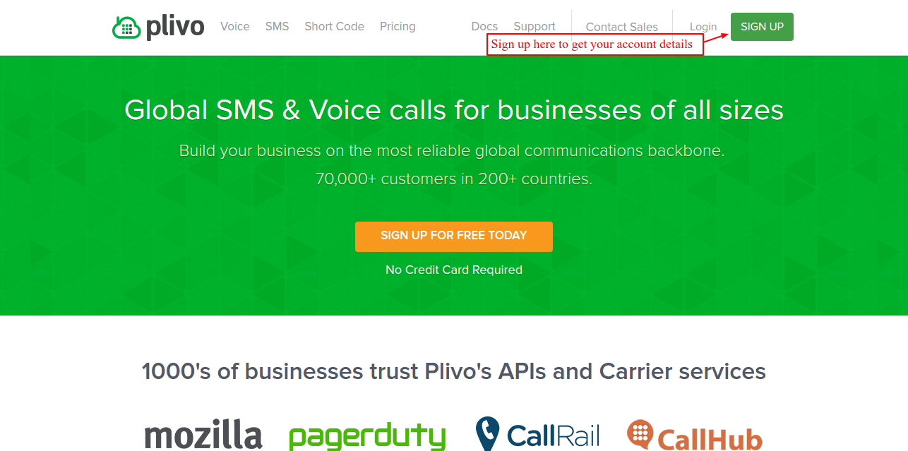 plivo home page
