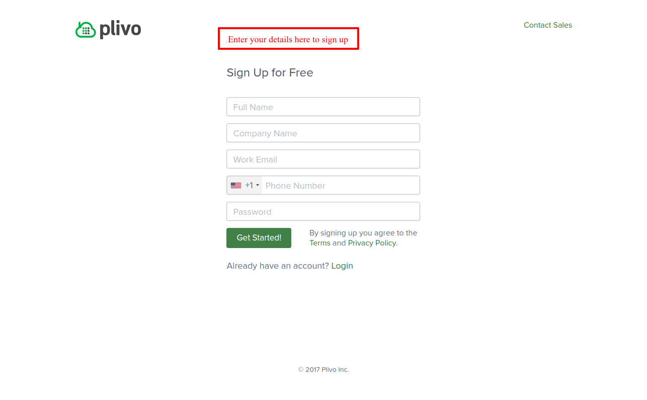 plivo signup page