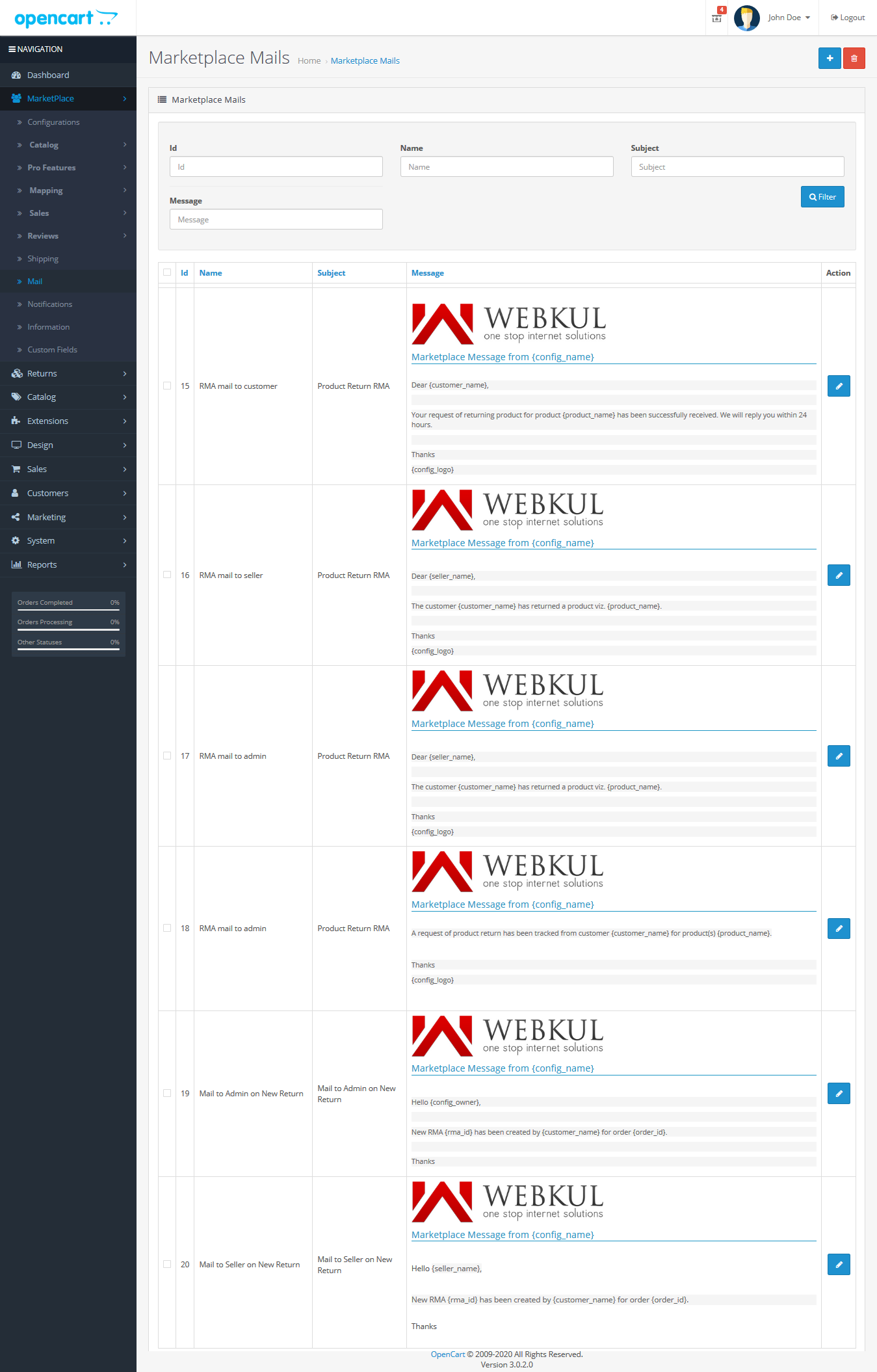webkul_opencart_marketplace_rma_extension_mail_configuration_for_email_notifications
