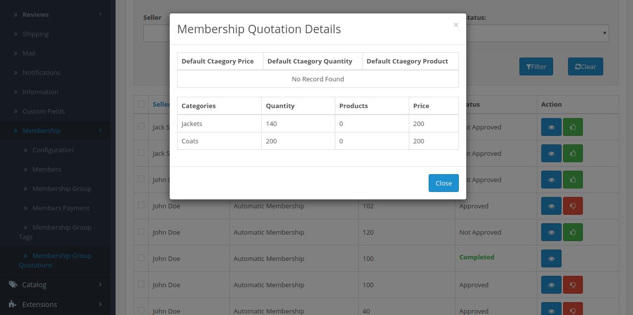 Membership-quotation-details