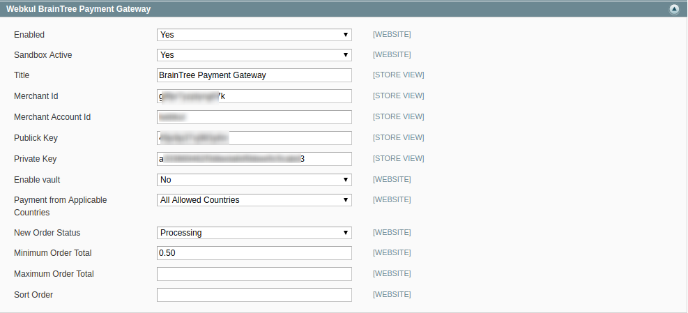 Configuration System Magento Admin