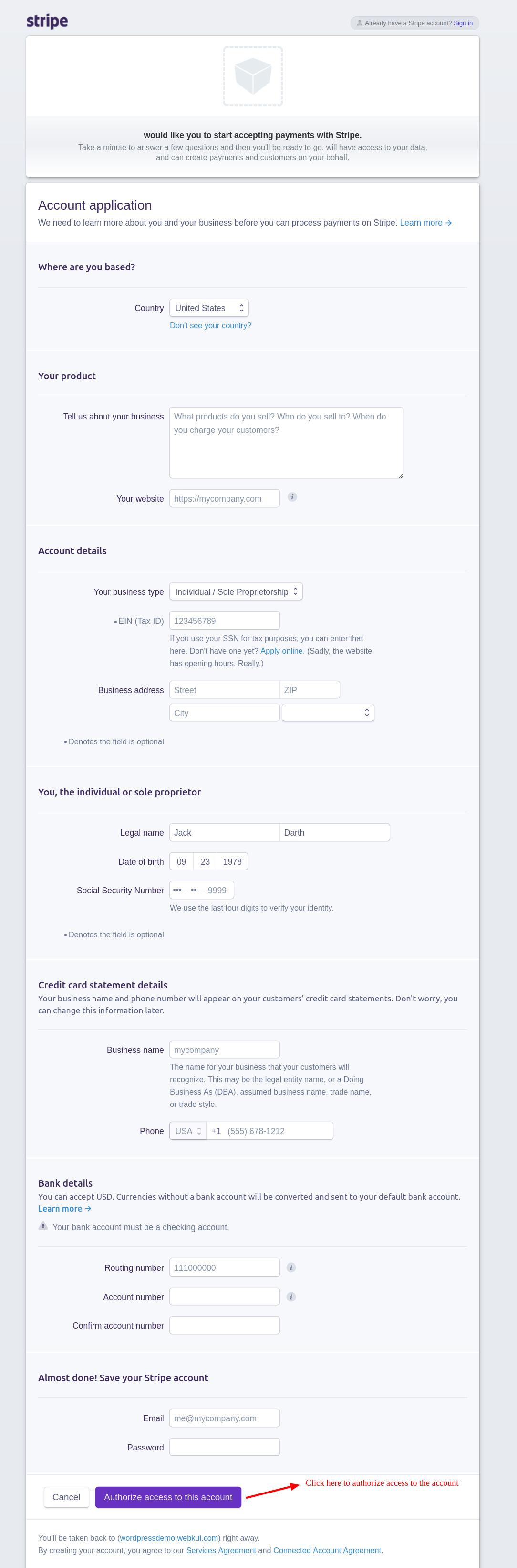 webkul-woocommerce-marketplace-stripe-authorize-access