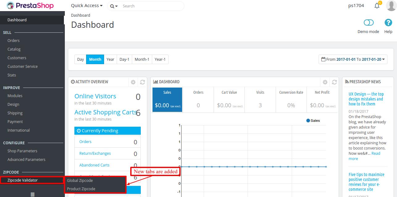 New tab of Zipcode Validator added on the dashboard