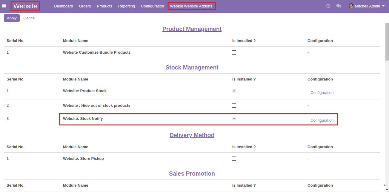 setting up Website Stock Notify in Odoo 2