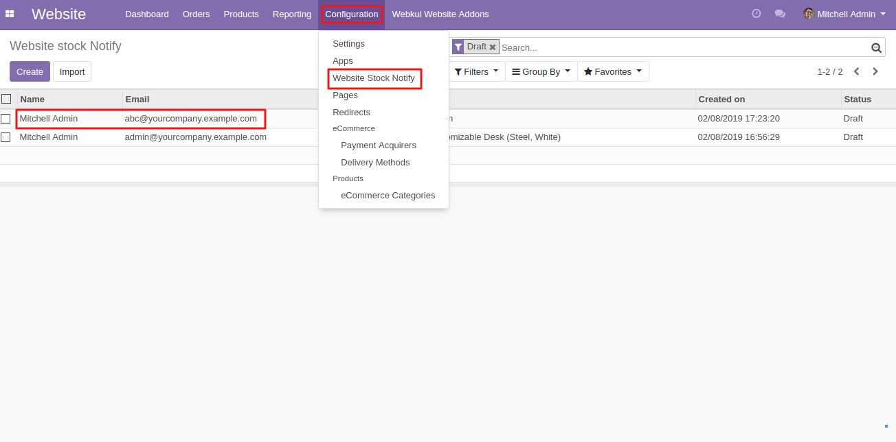 sending product stock notifcation to customers in Odoo 1