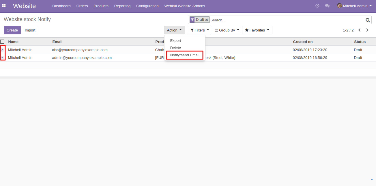 sending product stock notifcation to customers in Odoo 2