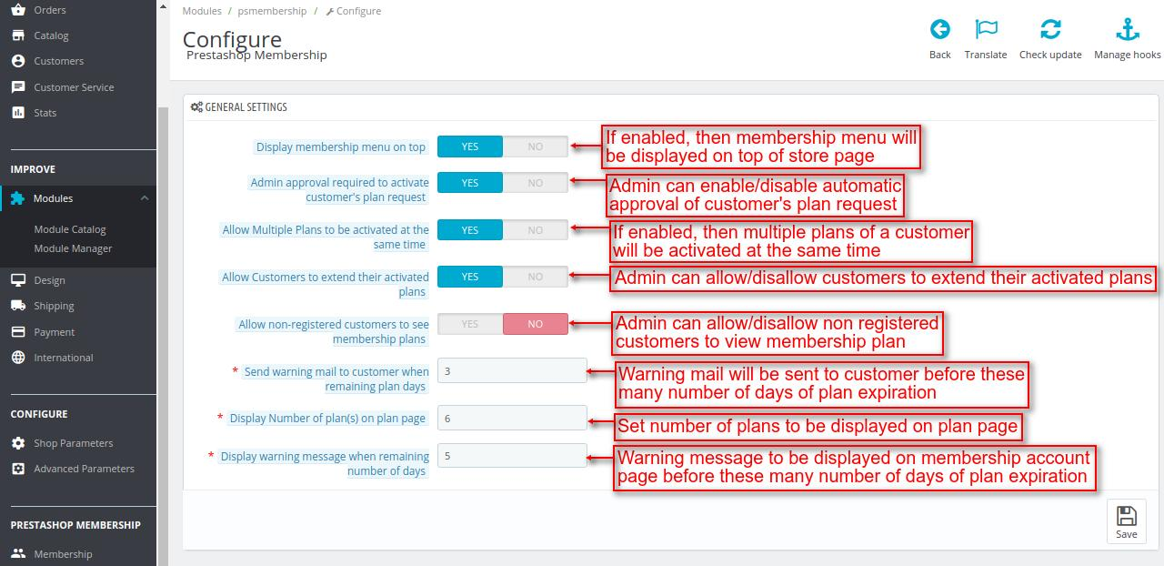 Configure the Prestashop membership module