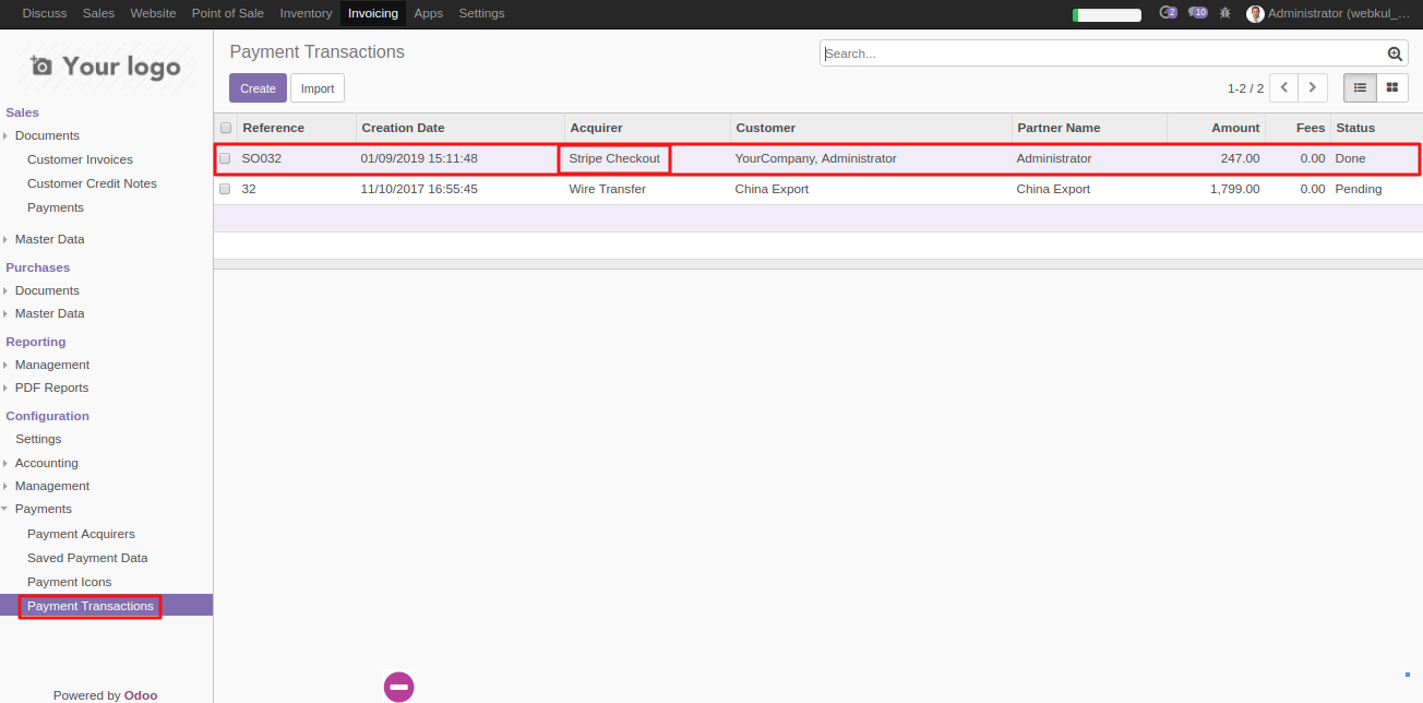 View transaction in Odoo 1