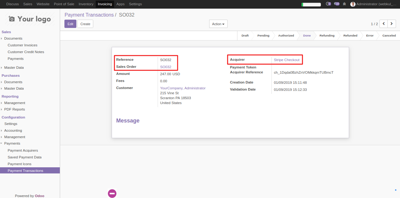 View transaction in Odoo 2