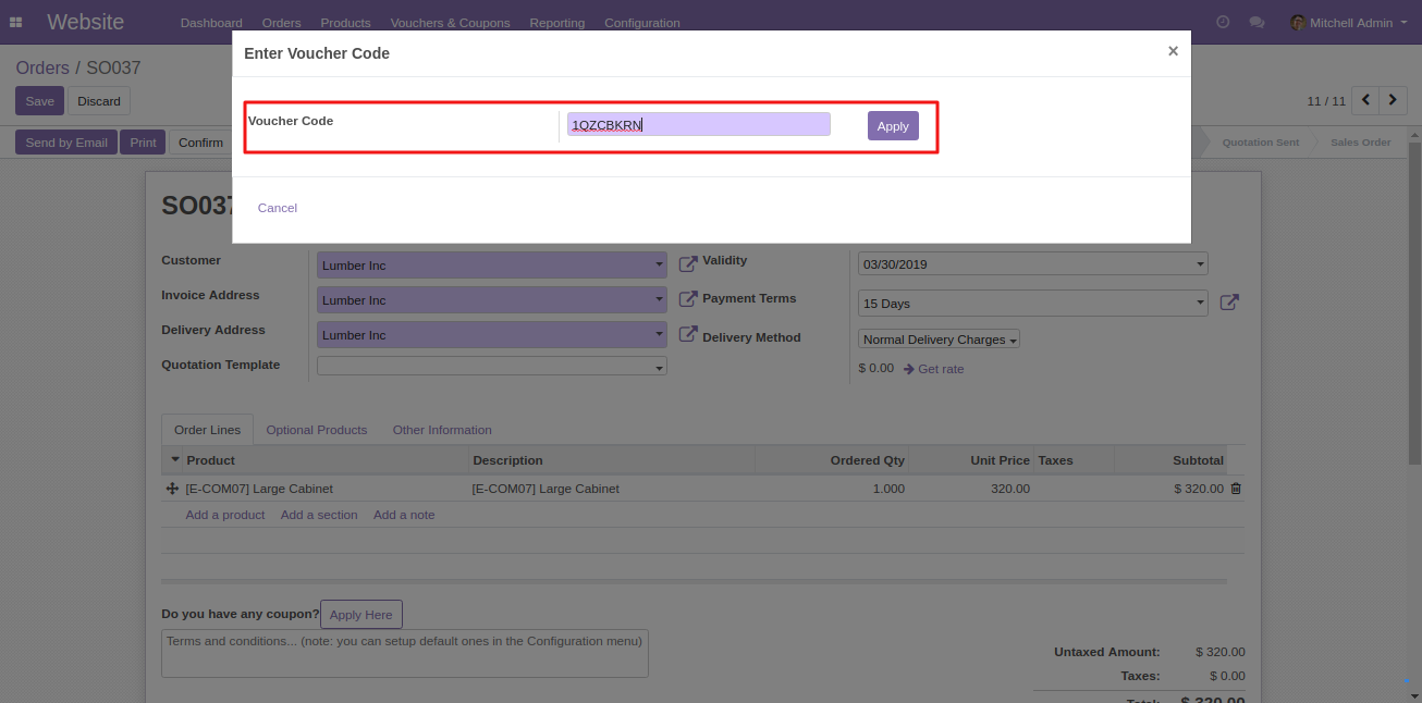 applying coupons in Odoo 2