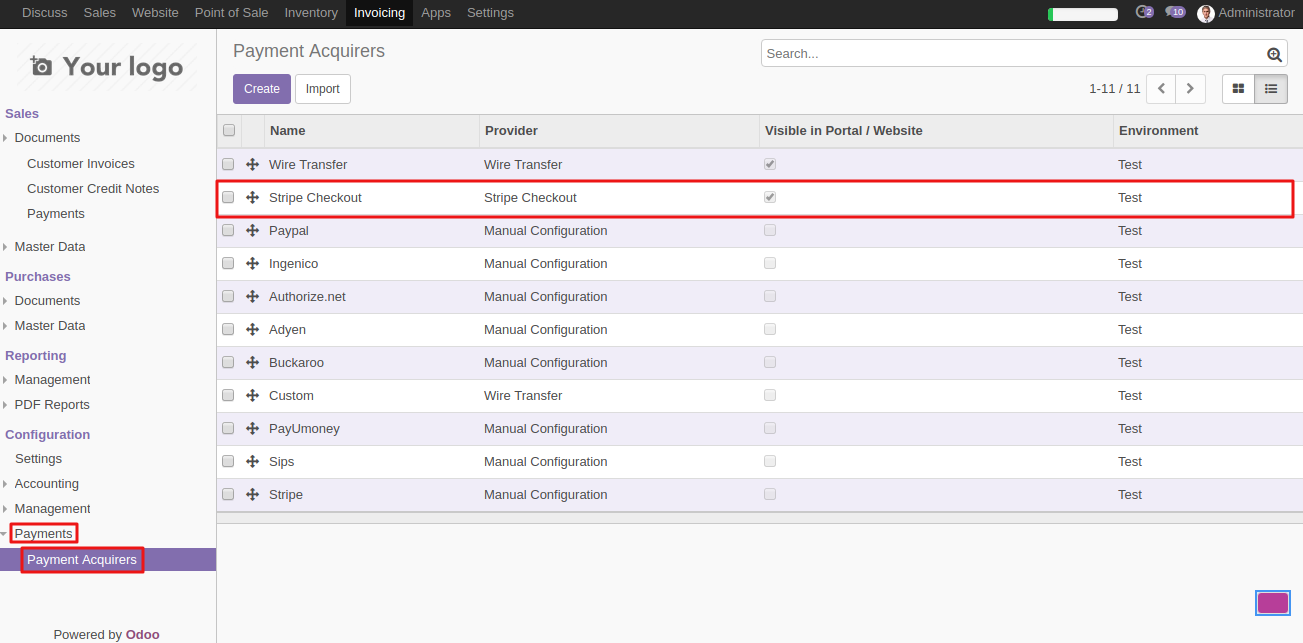 ConfiguringStripe Payment Acquirer in the Odoo 1
