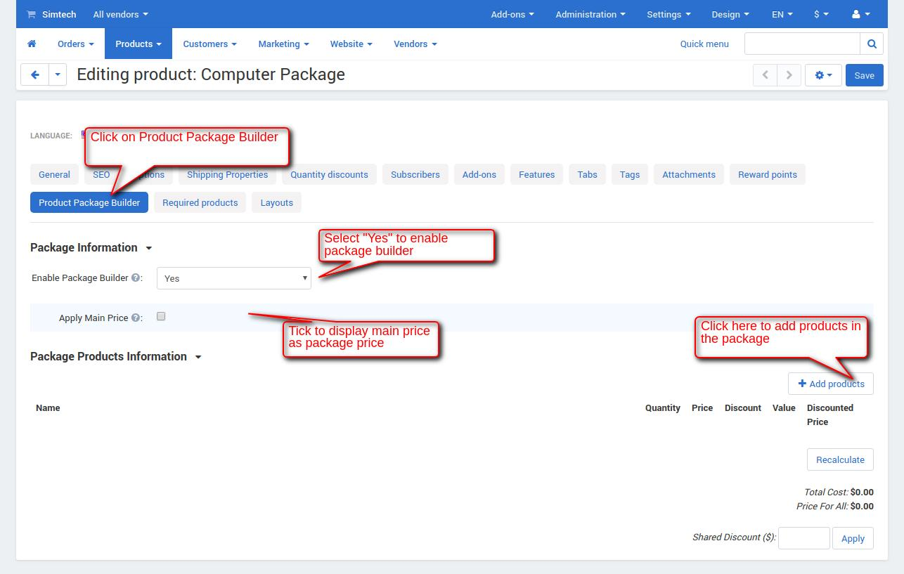 product package builder
