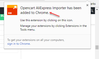 Opencart Dropship Management Added to chrome Success Extension Pop-Up