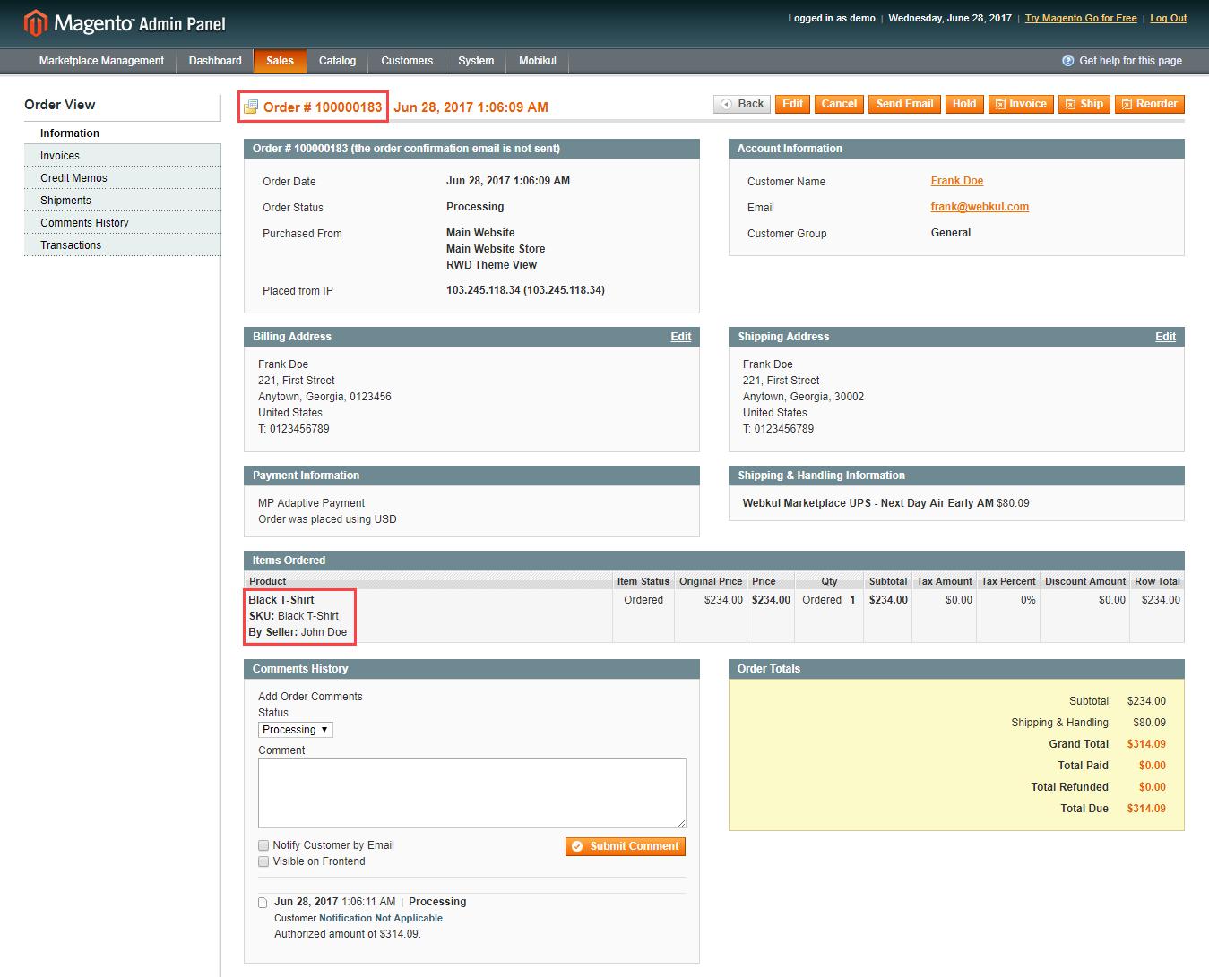 Magento Marketplace Split Order - admin order view -183