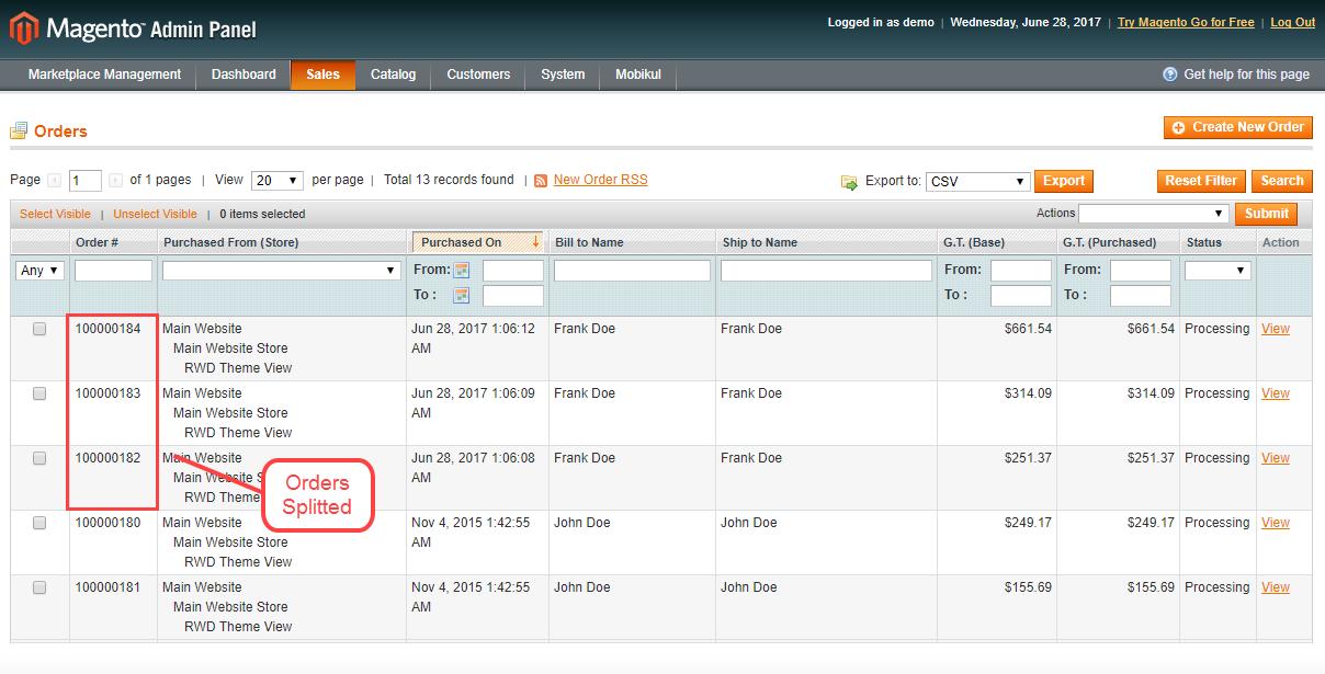 Magento Marketplace Split Order - admin order view