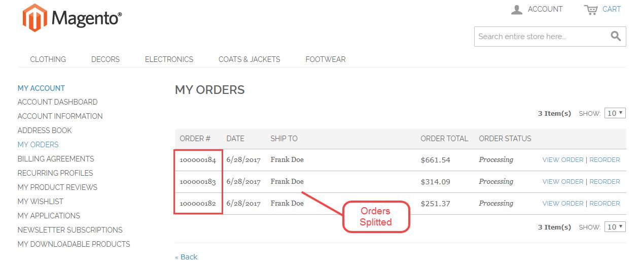 Magento Marketplace Split Order - customer orders