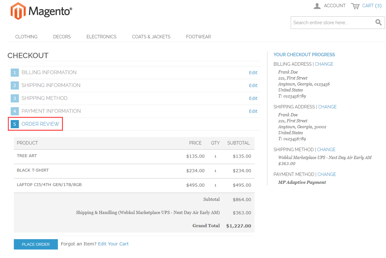Magento Marketplace Split Order - order review