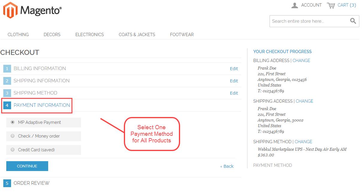 Magento Marketplace Split Order - select payment method