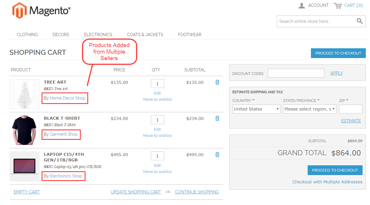 Magento Marketplace Split Order - shopping cart