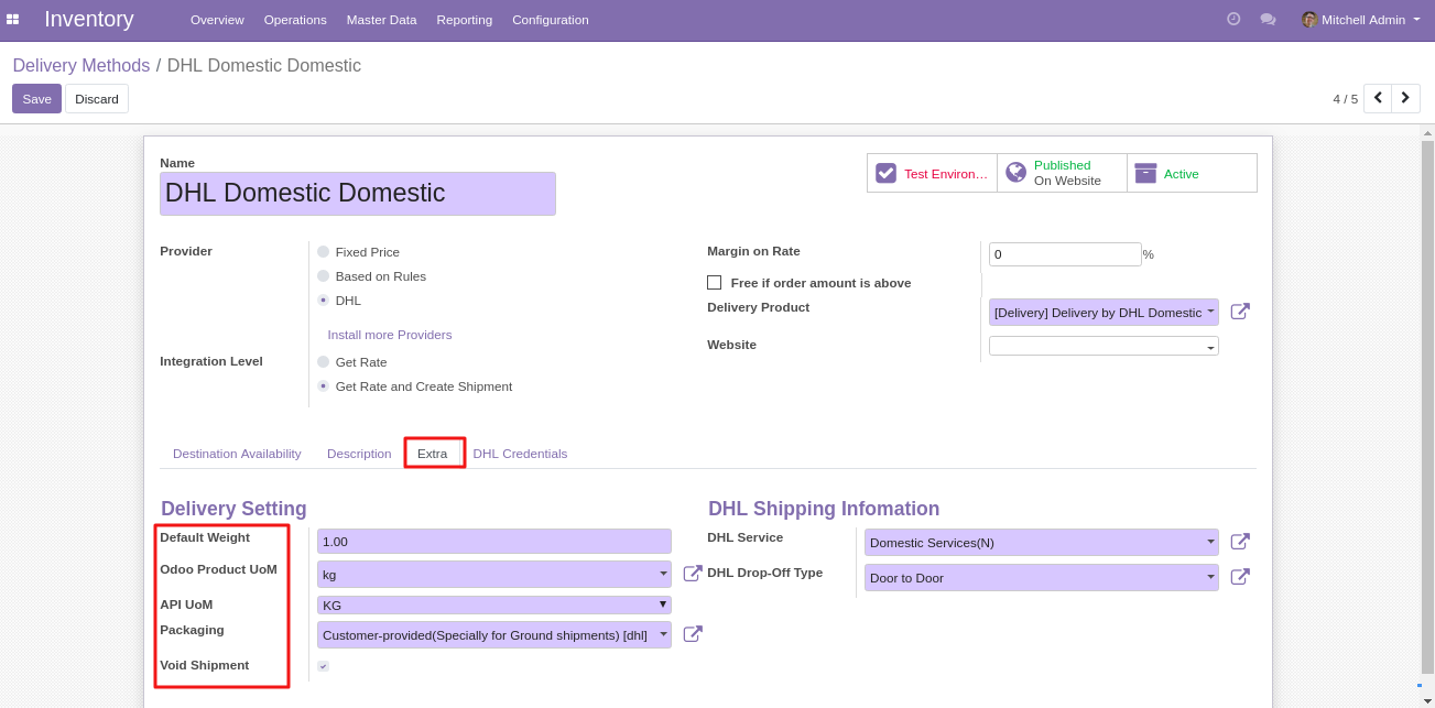 integrating DHL shipping with Odoo 2