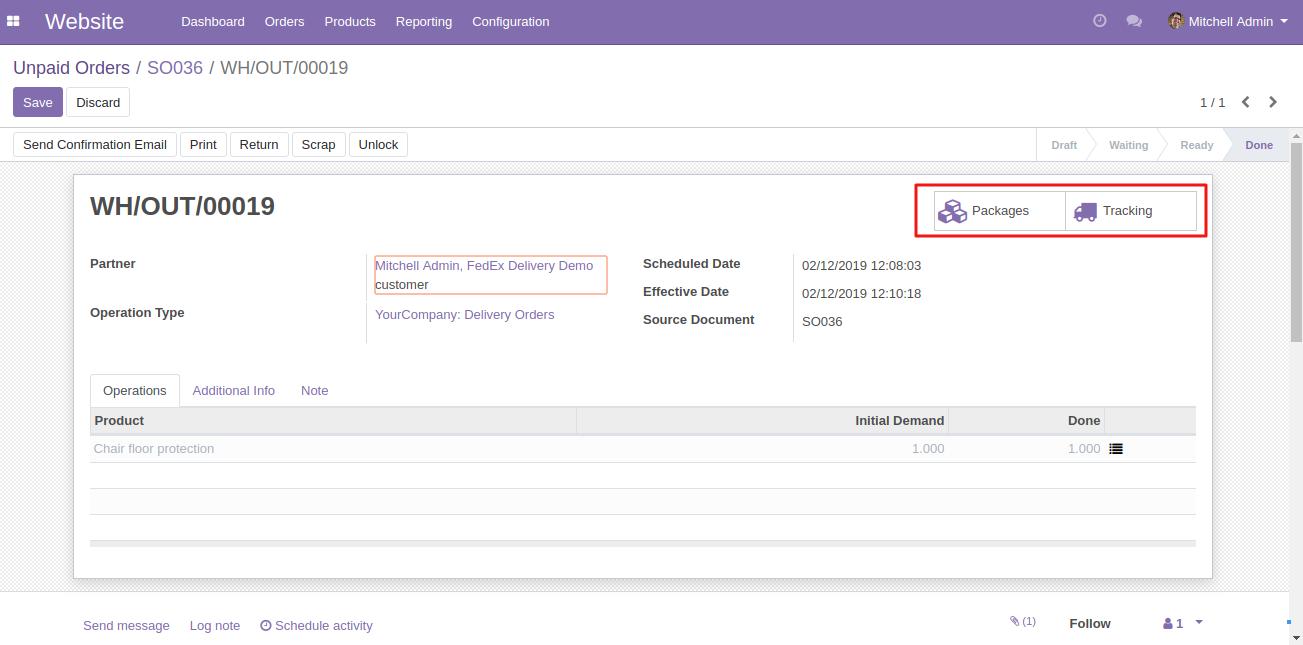 Odoo Fedex Shipping Integration