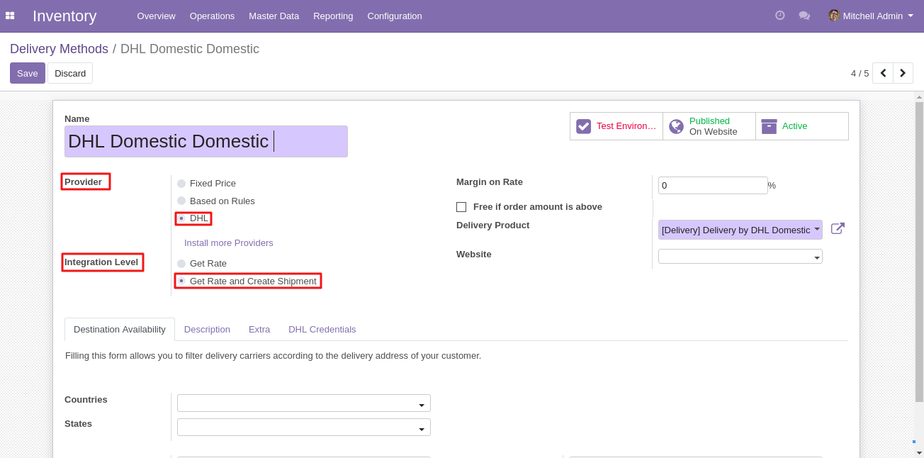 integrating DHL shipping with Odoo 3