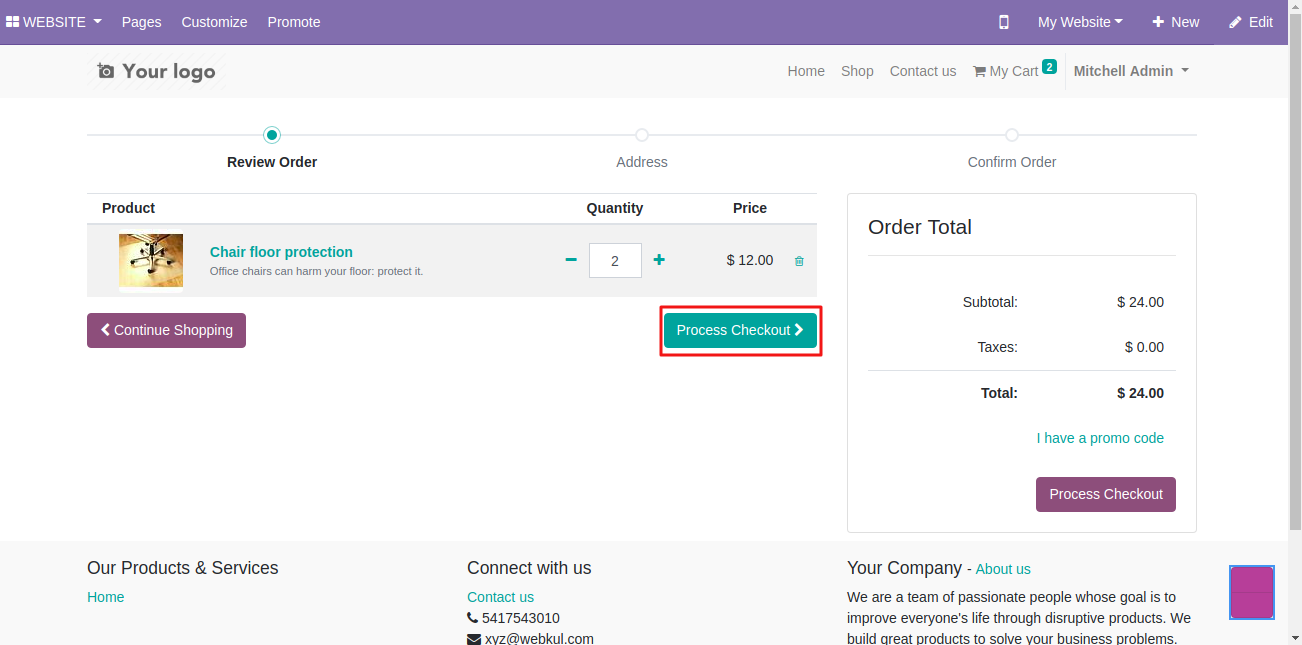 using Dhl shipping on Odoo website 1