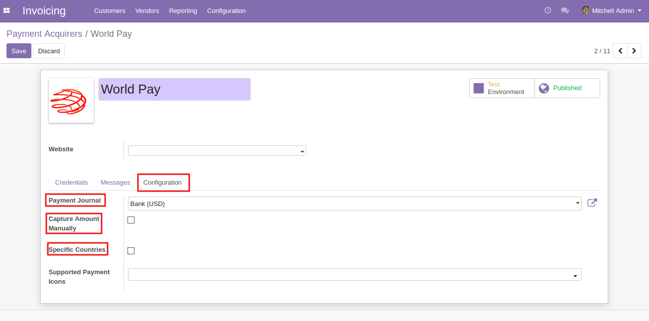 Configuring Worldpay In Odoo 3