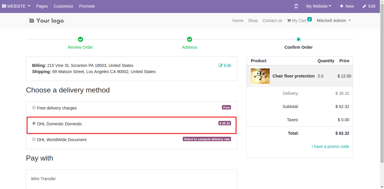 using Dhl shipping on Odoo website 2