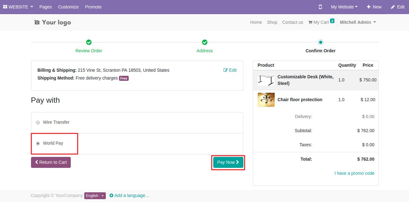 Using Worldpay on Odoo website 2
