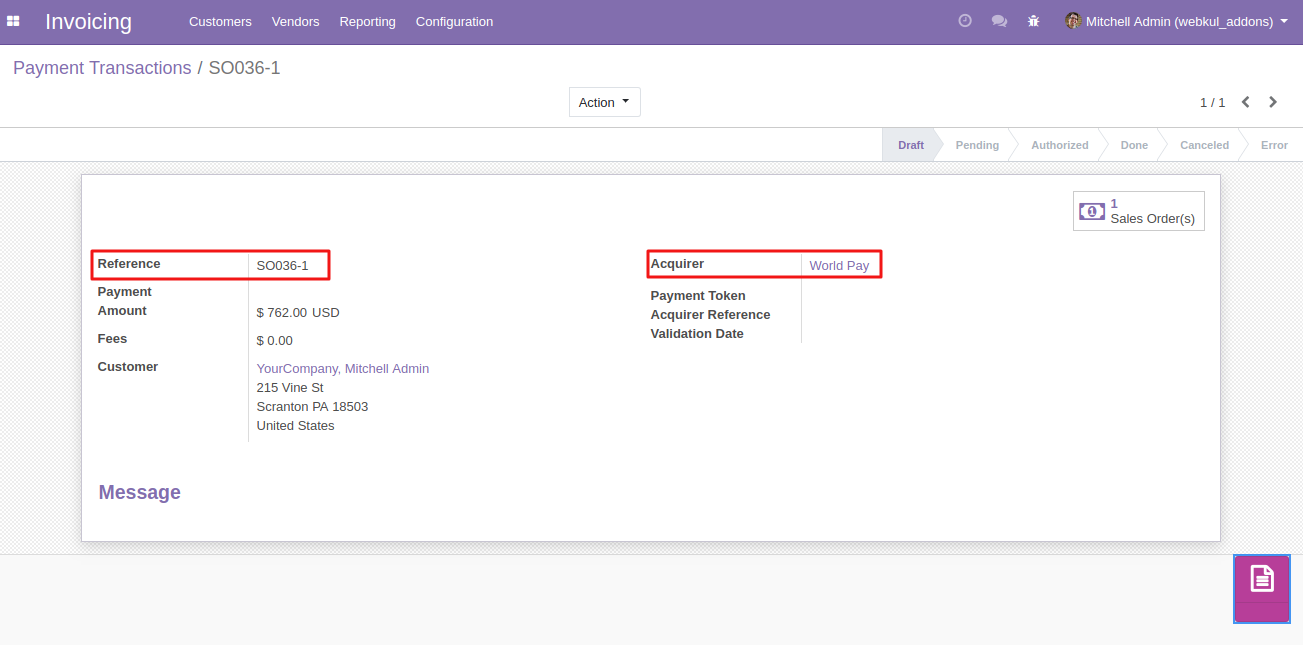 Viewing Worldpay Transactions in Odoo 2