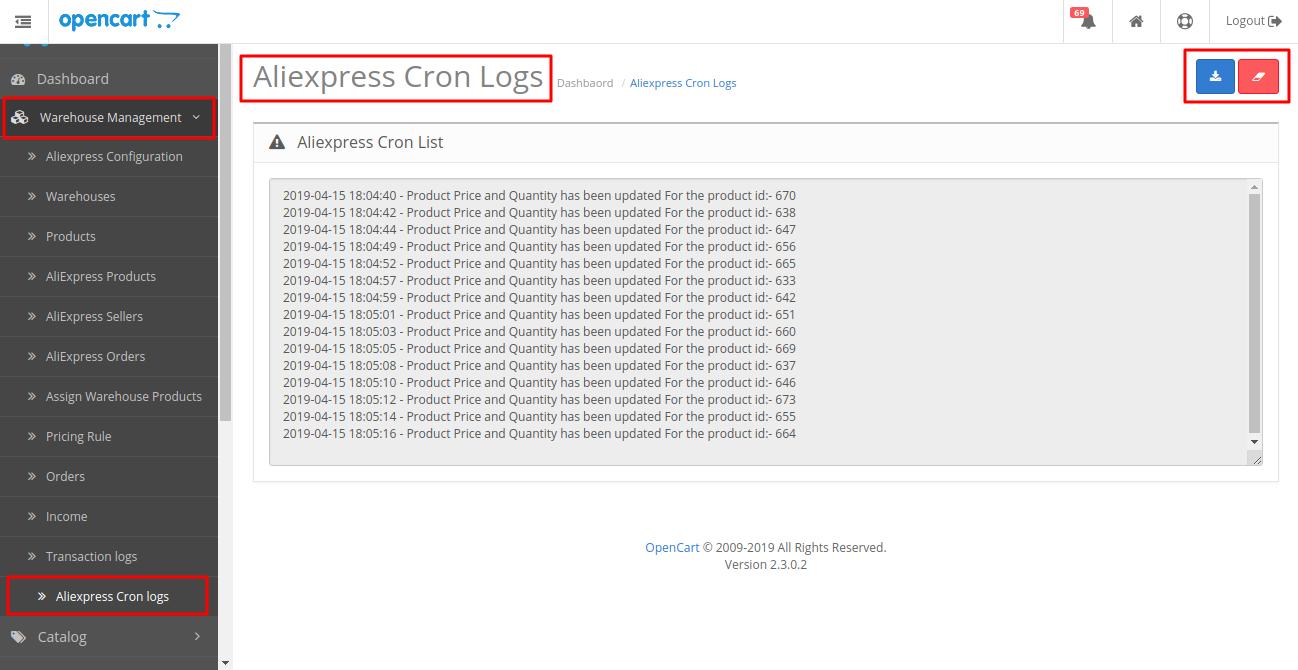 aliexpress cron logs
