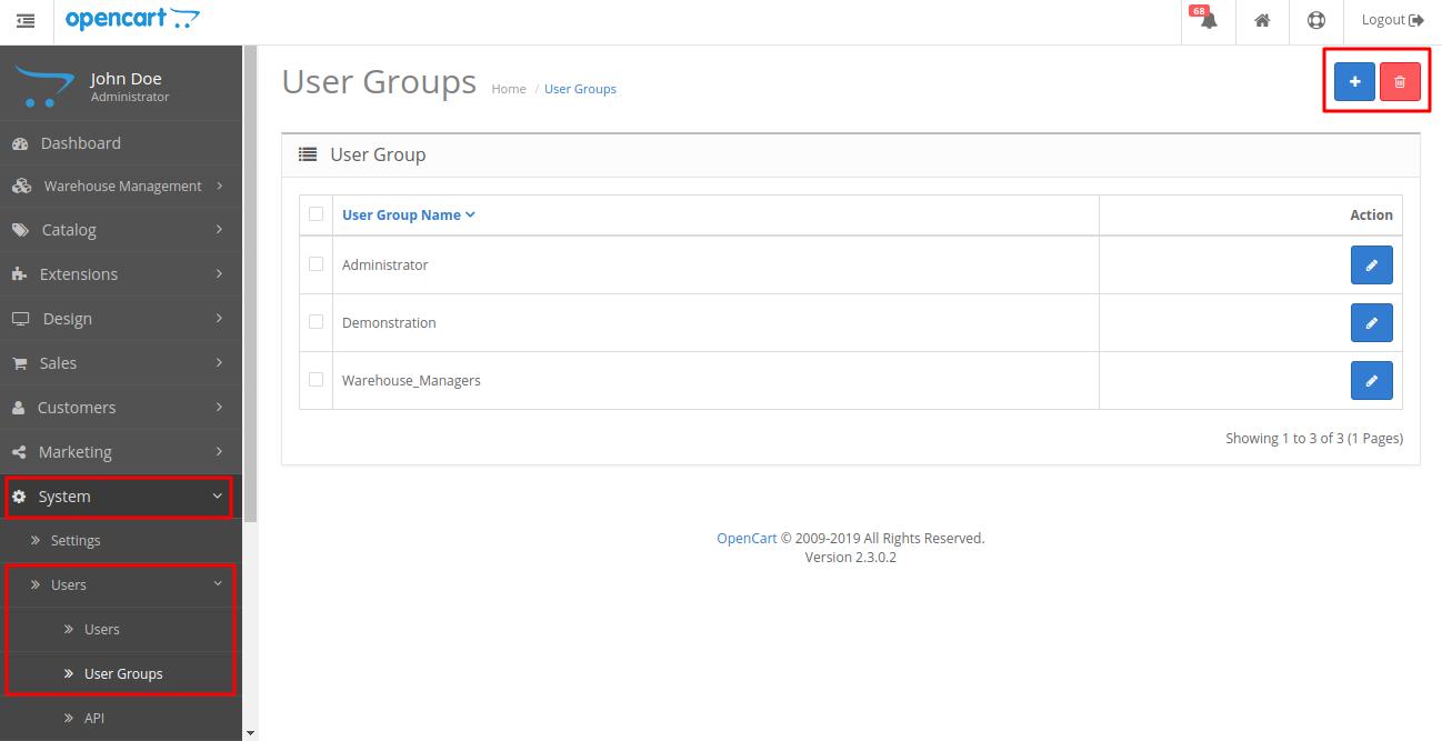 Opencart Dropship Management aliexpress_user_group