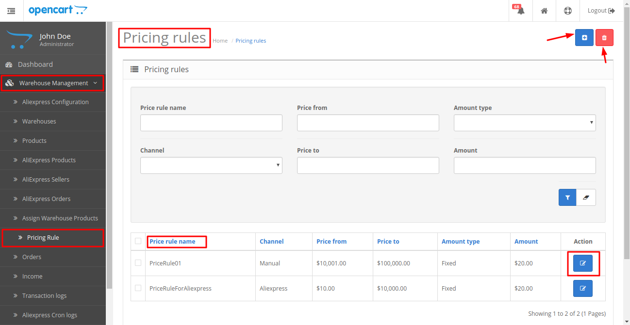 Opencart Dropship Management pricing rule