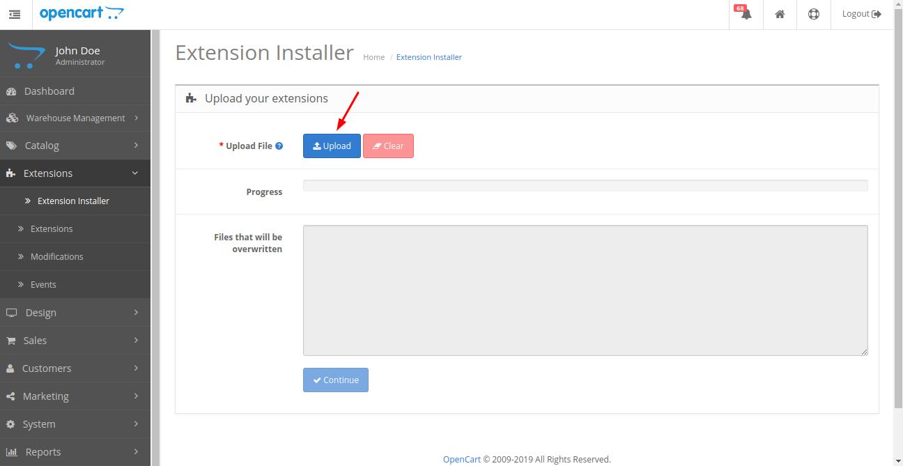 Opencart Dropship Management upload extension