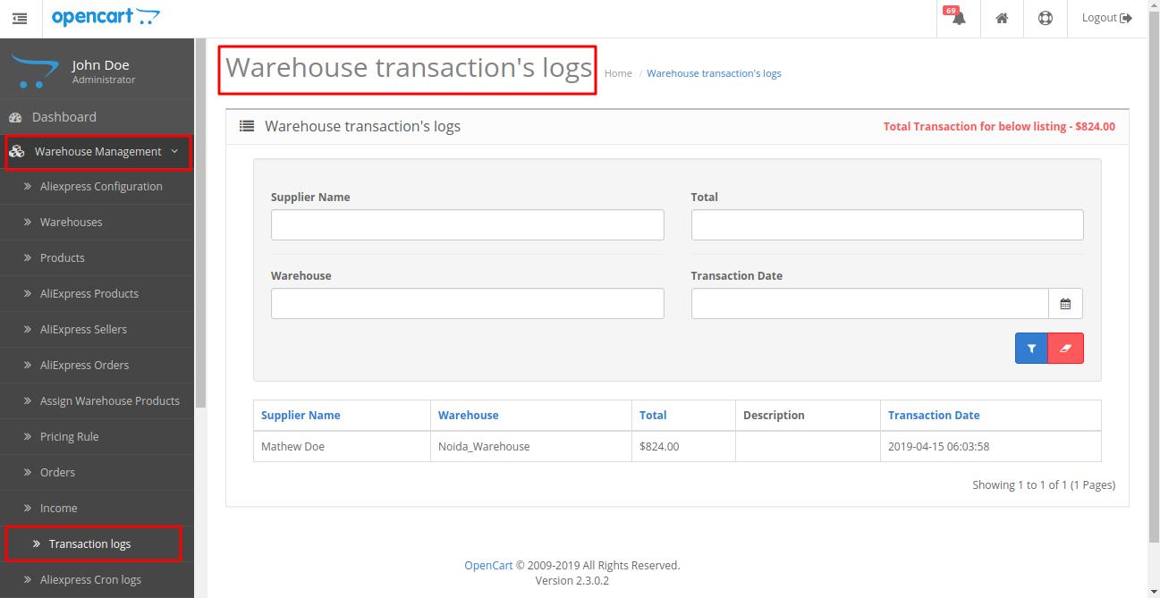 warehouse transaction log