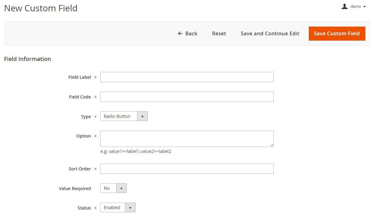 Magento 2 RMA - Custom Field Information