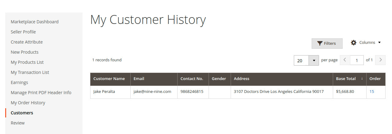 Multi Vendor - My Customer History