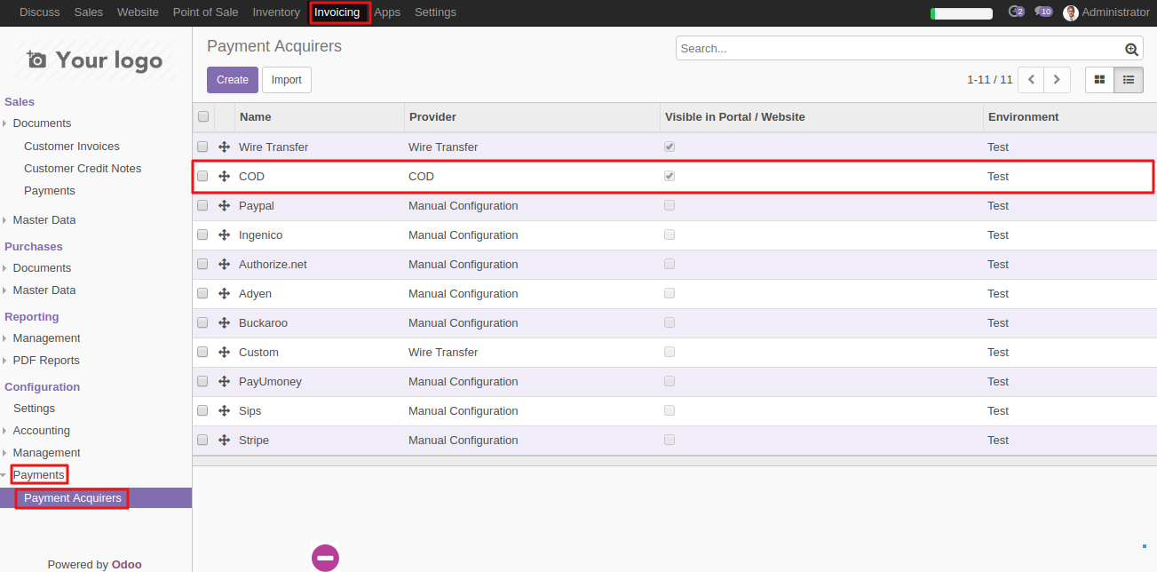 Configuring COD in Odoo 1
