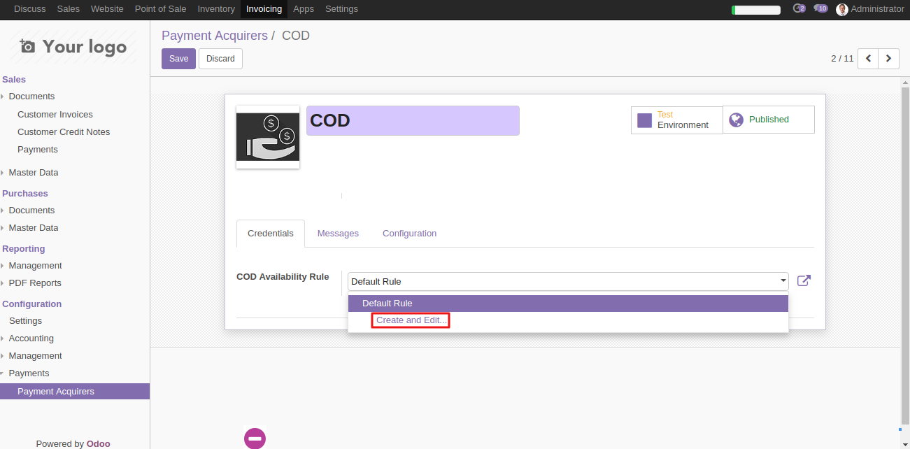 Configuring COD in Odoo 2