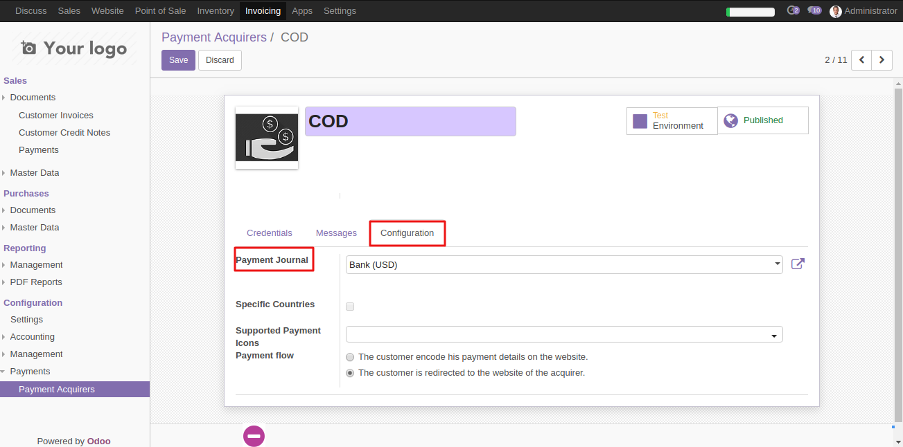 Configuring COD in Odoo 6