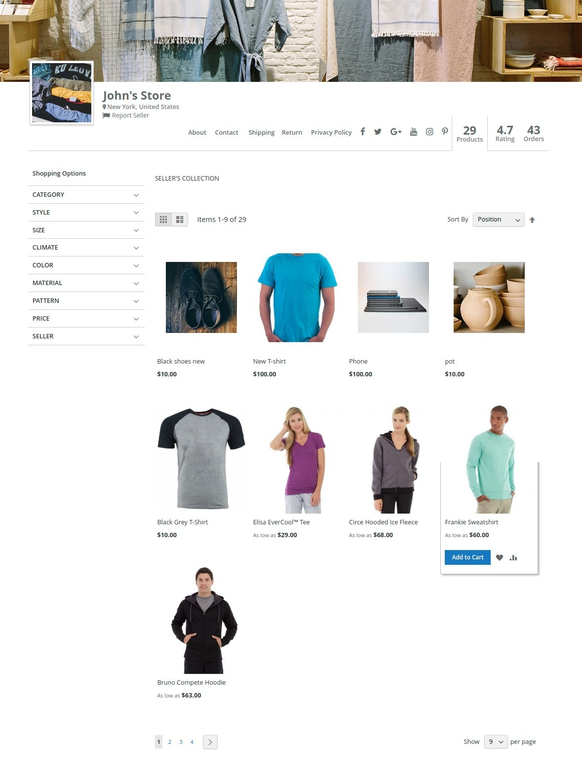multi vendor marketplace - seller collection page