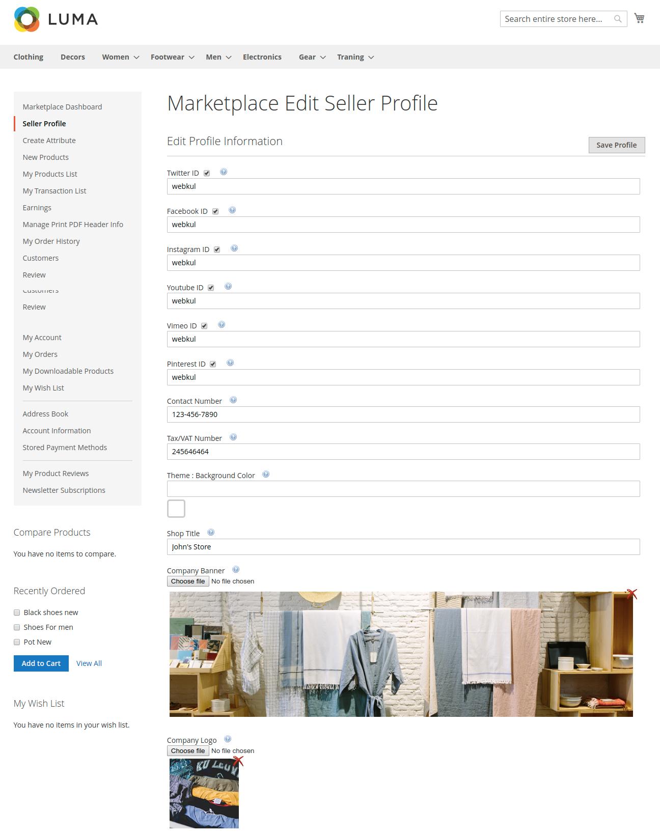 multi vendor marketplace - seller profile